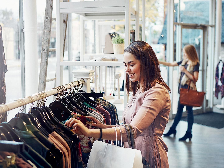 Millennial shopping in a retail store