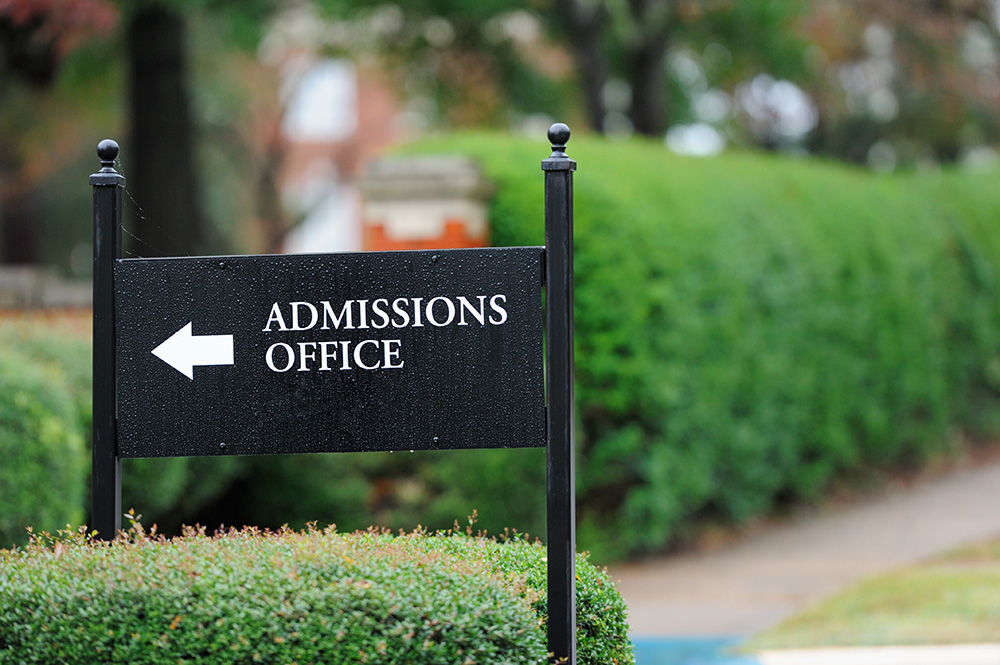 Admissions office sign