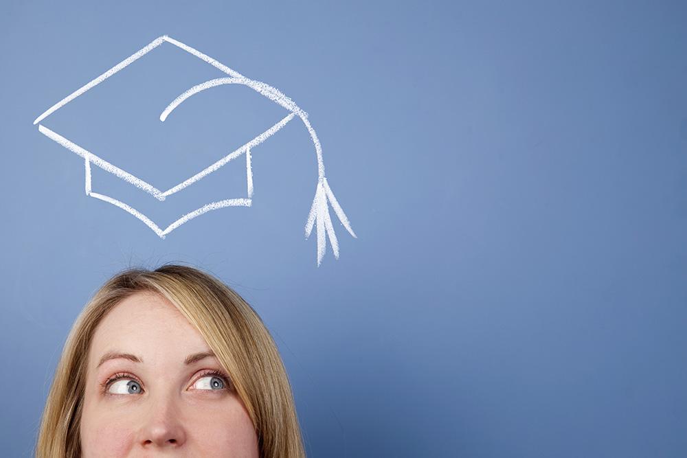 Woman in education branding with hand-drawn graduation cap art.